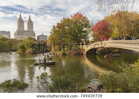 New York City, U.S.A  - November 4th, 2017:  Bow Bridge in central park during Autumn - Shutterstock ID 749439739