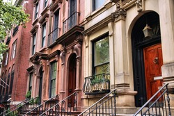 New York City, United States - old townhouses in Turtle Bay neighborhood in Midtown Manhattan