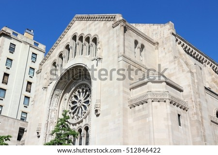 New York City, United States - Temple Emanu-el, synagogue next to 5th Avenue Stock fotó ©