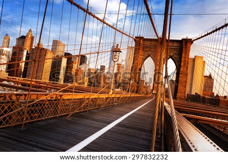 New York City, USA, early in the morning on the famous Brooklyn Bridge #297832232