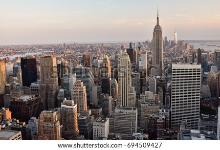 New York City, USA - July 3, 2017: The skyline of midtown and downtown New York City. #694509427