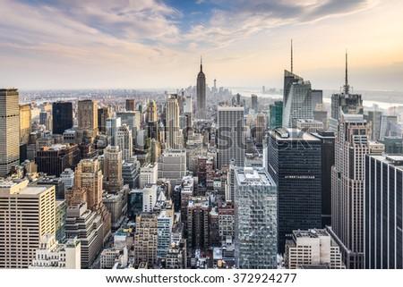 New York City, USA midtown Manhattan financial district skyline.