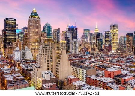 New York City, USA midtown Manhattan skyline over Hell's Kitchen. #790142761