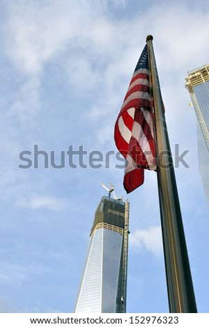 NEW YORK CITY, USA - NOVEMBER 12, 2012: Construction of One World Trade Center (formerly the Freedom Tower) at Ground Zero in Lower Manhattan on November 12, 2012.