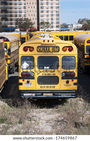 NEW YORK CITY, USA - OCTOBER 27: A New York City school buses. In the United States, school buses provide an estimated 10 billion student trips every year. October 27, 2013 in New York City, USA