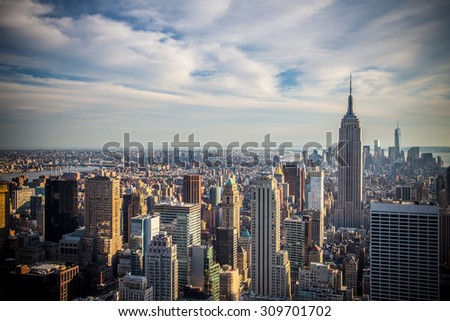 NEW YORK CITY, USA - SEPTEMBER, 2014: Midtown Manhattan aerial view #309701702