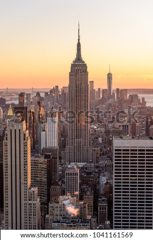 New York City - USA. View to Lower Manhattan downtown skyline with famous Empire State Building and skyscrapers at sunset. #1041161569