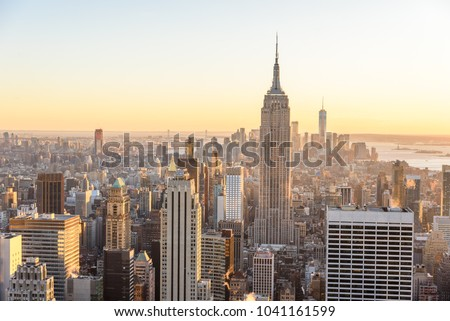 New York City - USA. View to Lower Manhattan downtown skyline with famous Empire State Building and skyscrapers at sunset. #1041161599