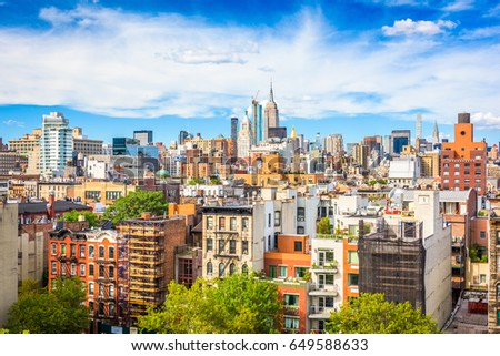 New York City view of Lower East side towards Midtown Manhattan.