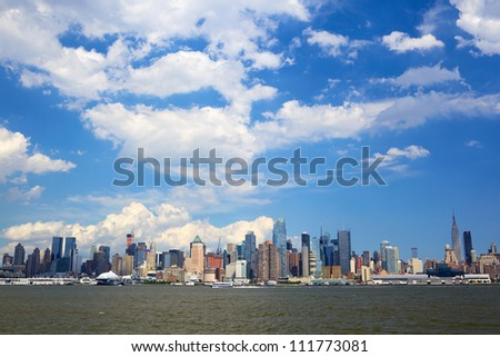 New York City with Manhattan skyline over Hudson River