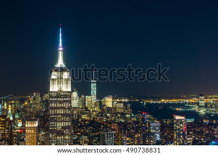 New York City with skyscrapers at night stock photo