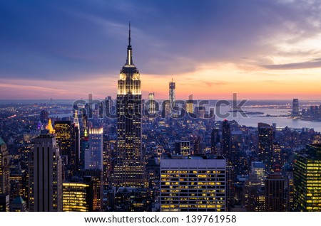 New York City with skyscrapers at sunset stock photo