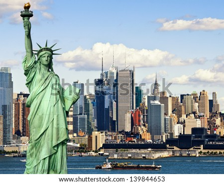new york city with statur of liberty skyline cityscape. photo tourism concept new york city with statue liberty over hudson river. new york midtown manhattan. large sailing ship usa america.