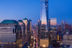 New York City WTC with Brookfield Centre in sunset, aerial photography