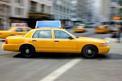 New York city yellow taxi on a busy road