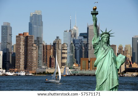 new york cityscape, tourism concept photograph nyc. statue of liberty new york over hudson river. new york city skyline with sailing boat.
