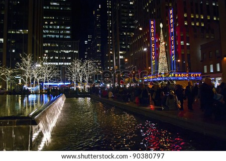 NEW YORK-DEC 2 : A night view of the decorations near Radio City Music Hall in Rockefeller Center on December 2, 201. Rockefeller Center is located between 48th and 51st streets in Manhattan.