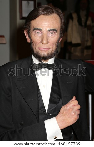 NEW YORK - Dec 6: A wax figure of Abraham Lincoln is seen on display at Madame Tussauds on December 6, 2013 in New York City.