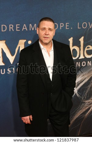 "NEW YORK-DEC 10: Actor Russell Crowe attends the premiere of ""Les Miserables"" at the Ziegfeld Theatre on December 10, 2012 in New York City."