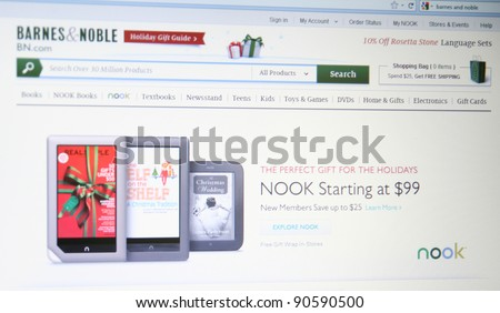 NEW YORK - DEC 9: Barnes & Noble has shipped (not sold) one million units since the Nook Tablet's mid-November launch as of Dec 9, 2011 in New York. Nooks are competing with Kindles and Apple Ipads.