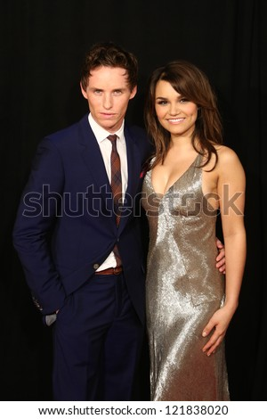 """NEW YORK-DEC 10: Eddie Redmayne and Samantha Barks attend the premiere of """"Les Miserables"""" at the Ziegfeld Theatre on December 10, 2012 in New York City."""