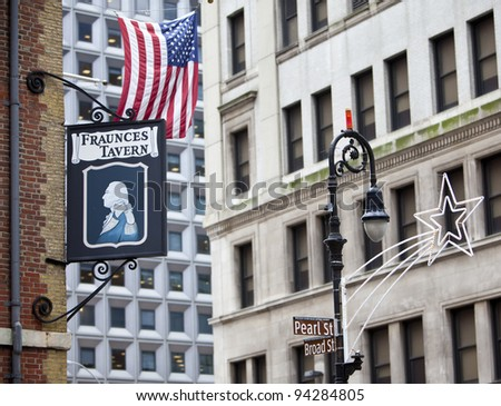 NEW YORK - DEC 28: The famous Fraunces Tavern is one of New York's oldest buildings and played a role in pre-Revoultion and American Revolution history, on December 28, 2011 at Pearl Street, New York.