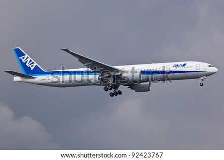 NEW YORK - DECEMBER 21: A Boeing 777 ANA approaching to JFK in New York, USA on December 21, 2011. ANA is largest airline in Japan and serve 49 destinations in Japan and 35 international routes