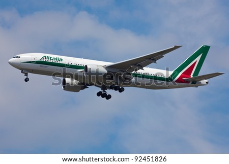 NEW YORK - DECEMBER 21:AlItalia Boeing 767 on final to JFK airport located ion New York, USA on December 20, 2010 AlItalia is flag carrier airline of Italy and one of the biggest airlines in Europe