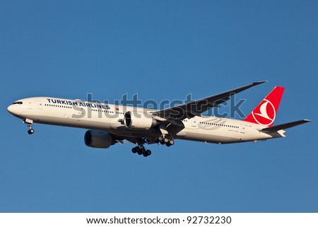 NEW YORK - DECEMBER 19: Boeing 777 Turkish airline on approach to JFK in new York, USA on December 19, 2011. Turkish Airline is using one of the youngest fleet in Europe based on Boeing aircraft