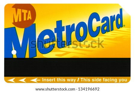 NEW-YORK - DECEMBER 23rd: A standard rechargeable New-York MTA Metro Card isolated on white background, on December 23rd, 2012, in New York, New York.