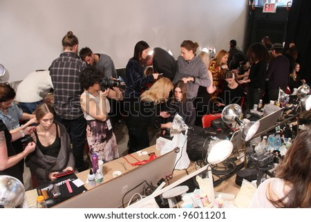 NEW YORK - FEBRUARY 10: A Model gets ready for Tess Giberson Fall/Winter 2012 presentation in Lincoln Center during New York Fashion Week on February 10, 2012 in NYC.