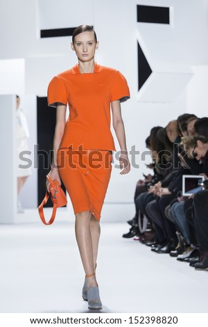 NEW YORK FEBRUARY 09 A model is walking the runaway at Lacoste Ready to Wear Fall Winter 2013-2014 fashion show during Mercedes-Benz Fashion Week on February 09 2013 in New York