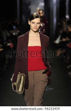 NEW YORK - FEBRUARY 12: A Model walks runway for Diane Von Furstenberg Fall/Winter 2012 presentation in Lincoln Center during New York Fashion Week on February 12, 2012 in NYC.