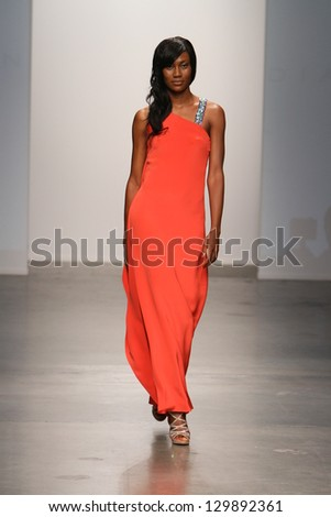 NEW YORK - FEBRUARY 13: A model walks the runway at Diana Simaan Fall Winter 2013 Collection during Nolcha Fashion Week on February 13, 2013 in New York City.