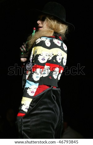 NEW YORK - FEBRUARY 14: A model walks the runway at the Betsey Johnson Collection for Fall/Winter 2010 during Fashion Week on February 14, 2010 in New York - stock photo