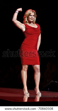 NEW YORK - FEBRUARY 09: Alison Sweeney in Tadashi Shoji dress walks runway for The Heart Truth's Red Dress Collection at Mercedes-Benz Fall/Winter 2011 Fashion Week on February 09, 2011 in New York - stock photo