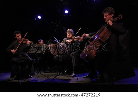 NEW YORK - FEBRUARY 16: Ebene Quartet performs at Le Poison Rouge Lounge on February 16, 2010 in New York