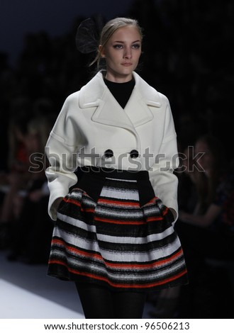NEW YORK - FEBRUARY 15: Model walks on runway for Milly collection by Michelle Smith during Fashion week at Lincoln Center in Manhattan on February 15, 2012 in New York City