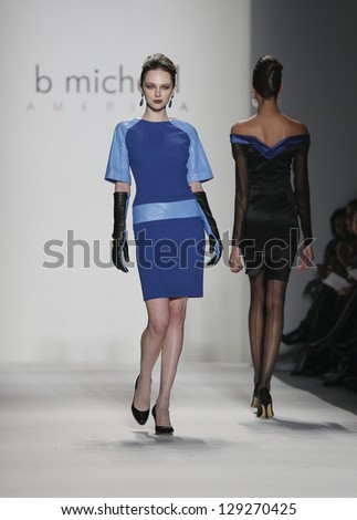 NEW YORK - FEBRUARY 13: Model walks runway during Fall/Winter 2013 presentation for B Michael America collection at Mercedes-Benz Fashion Week at Lincoln Center on February 13, 2013 in New York