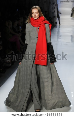 NEW YORK - FEBRUARY 14: Model walks runway for collection by Pamella Roland at Mercedes-Benz Fall 2012 Fashion Week  at Lincoln Center in Manhattan on February 14, 2012 in NYC. - stock photo