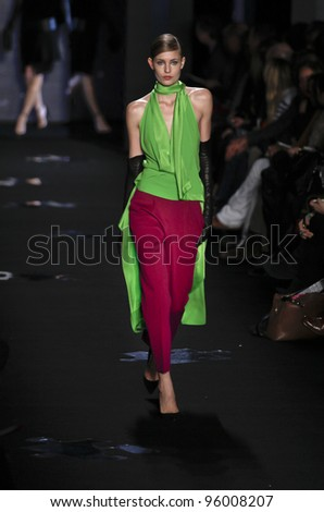 NEW YORK - FEBRUARY 12: Model walks runway for Diane von Furstenberg collection during Fashion week at Lincoln Center in Manhattan on February 12, 2012 in New York City