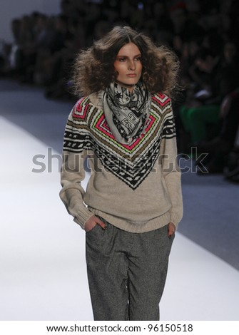 NEW YORK - FEBRUARY 11: Model walks runway for Mara Hoffman collection during Fashion week at Lincoln Center in Manhattan on February 11, 2012 in New York City