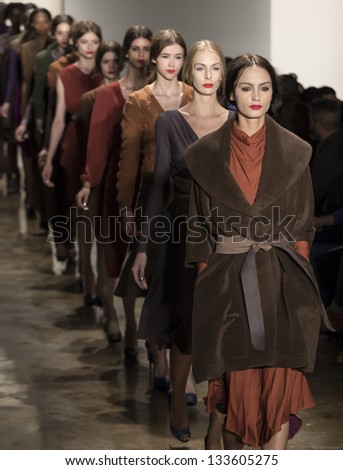 NEW YORK FEBRUARY 7 Models are walking the runaway at Costello Tagliapietra Show for Fall Winter 2013 Collection during Mercedes-Benz Fashion Week on February 7 2013 in New York