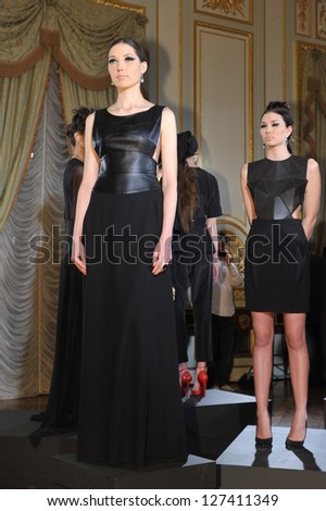 NEW YORK - FEBRUARY 06: Models poses at static presentation for Russian Fashion Industry Reception F/W 2013 in Consulate General of the Russian Federation in NY on February 06, 2013 in NYC.