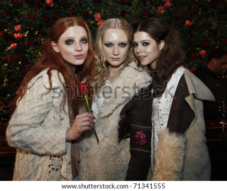 NEW YORK - FEBRUARY 16: Models present clothes by Per Holknet and Karin Jimfelt-Gahtan at Odd Molly presentation at Mercedes-Benz Fall/Winter 2011 Fashion Week on February 16, 2011 in New York City.