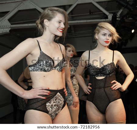 NEW YORK - FEBRUARY 11: Models show off lingerie for The Lake & Stars collection by Maayan Zilberman, Nikki Dekker at Mercedes-Benz Fall/Winter 2011 Fashion Week on February 11, 2011 in New York City.