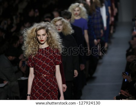 NEW YORK - FEBRUARY 11: Models walk runway during Fall/Winter 2013 presentation for Marc by Marc Jacobs collection at Mercedes-Benz Fashion Week at Lincoln Center on February 11, 2013 in New York
