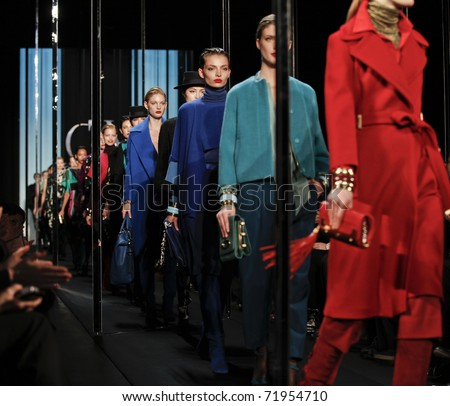 NEW YORK - FEBRUARY 13: Models walk runway for Diane Von Furstenberg collection at Mercedes-Benz Fall/Winter 2011 Fashion Week on February 13, 2011 in New York City
