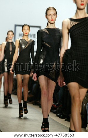 NEW YORK - FEBRUARY 14: Models walk the runway at the Herve Leger Collection for Fall/Winter 2010 during Mercedes Benz Fashion Week on February 14, 2010 in New York