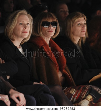 NEW YORK - FEBRUARY 13: Vogue editor Anna Wintour attends runway for Carolina Herrera collection during Fashion week at Lincoln Center in Manhattan on Feb 13, 2012 in New York City